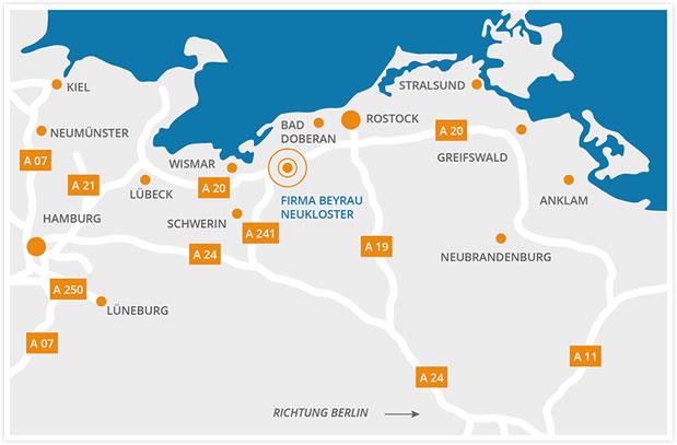 Wirkungsfeld von Elektroinstallation & Blitzschutz Beyrau von Hamburg bis Berlin